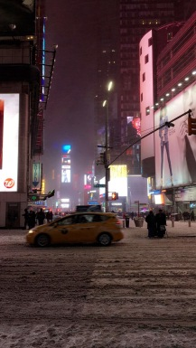 a snowy times square
